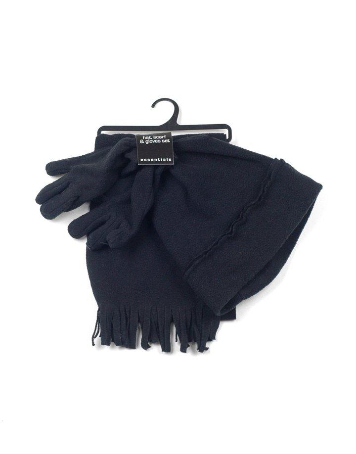Fekete polár sapka-sál-kesztyű csomag