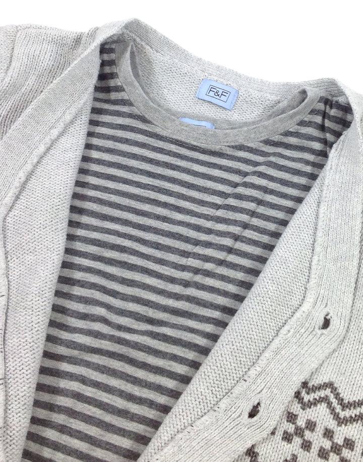 ... F F szürke kötött kisfiú pulóver pólóval ellátva ... 4adfa1a051