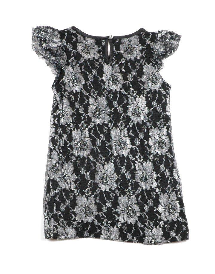 Fekete-ezüst virágmintás alkalmi ruha
