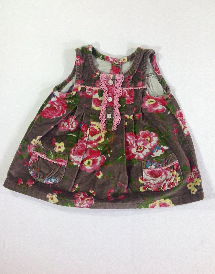 Bársony virág mintás baba kisruha
