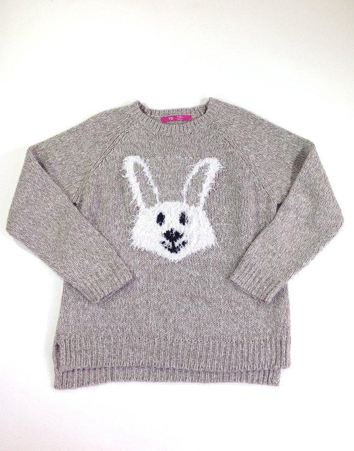 Nyuszi mintás kislány kötött pulóver   d6970f3c56