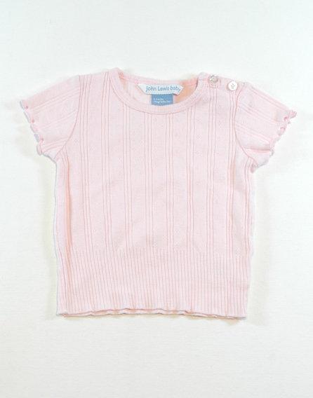 Rózsaszín, fodros ujjú póló