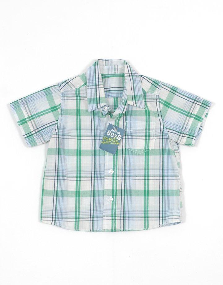Toddler Boys kockás kisfiú rövid ujjú ing
