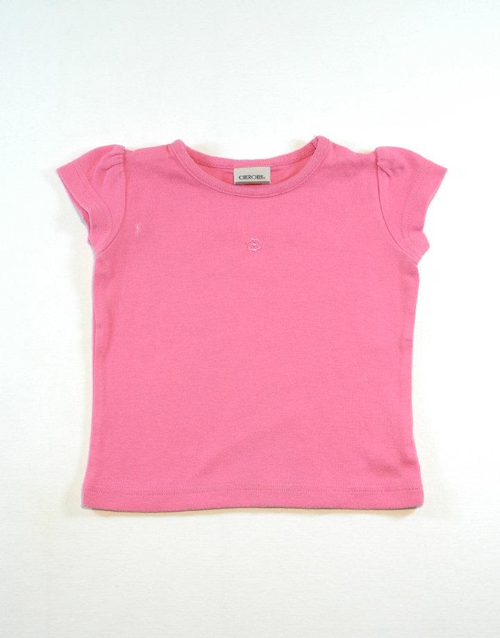 Rózsaszín póló, hímzett virág mintával