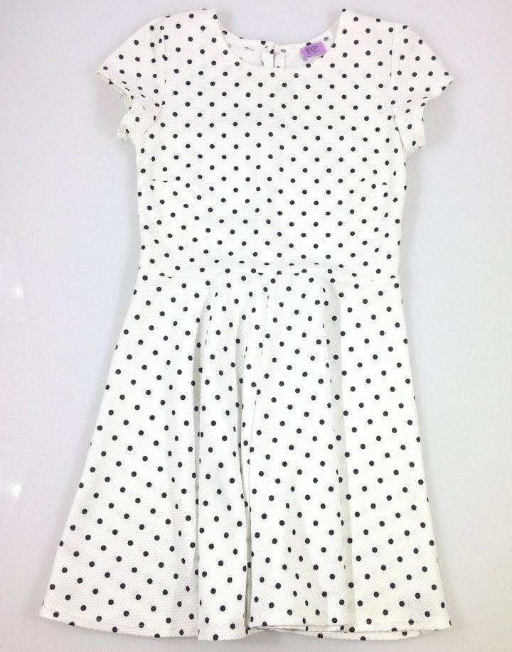 F F törtfehér színű fekete pöttyös lány ruha  03fb055764