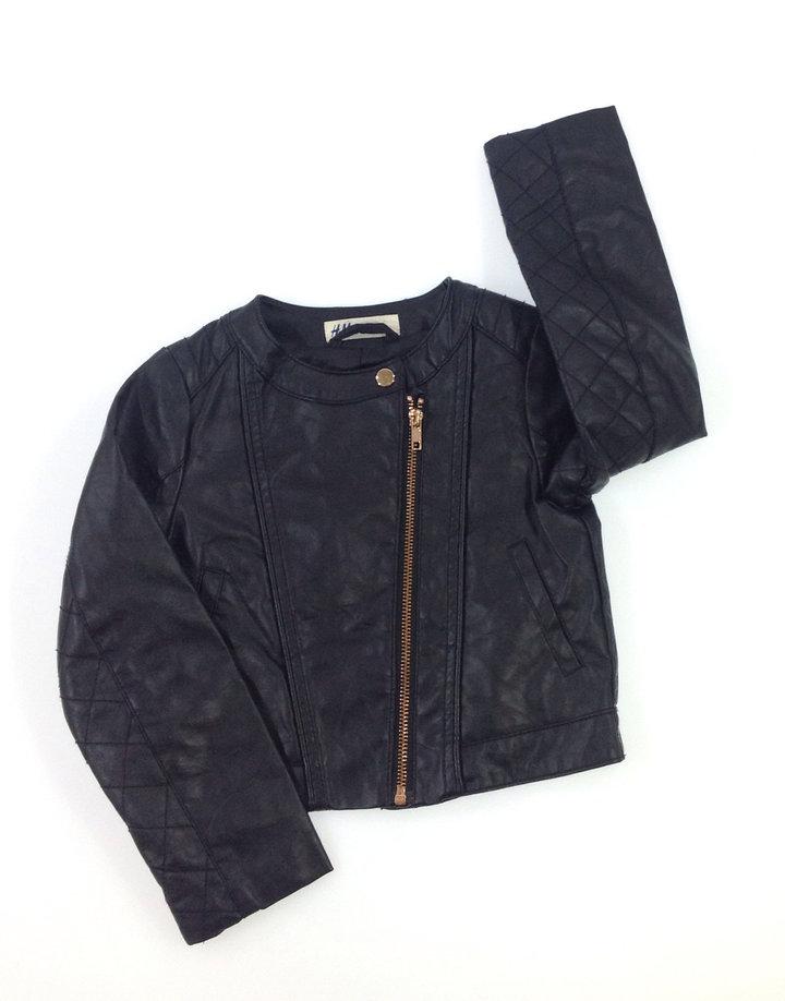 H M fekete kislány műbőr dzseki  a42a9b306a
