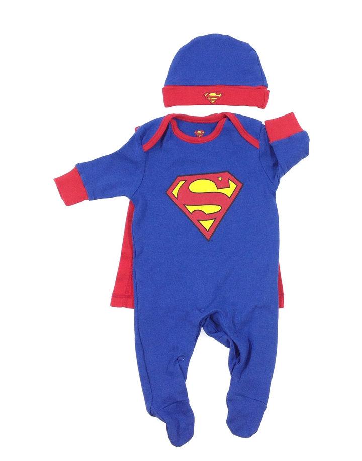 Superman mintás kisfiú rugdalózó köpennyel és sapkával  fc69276472