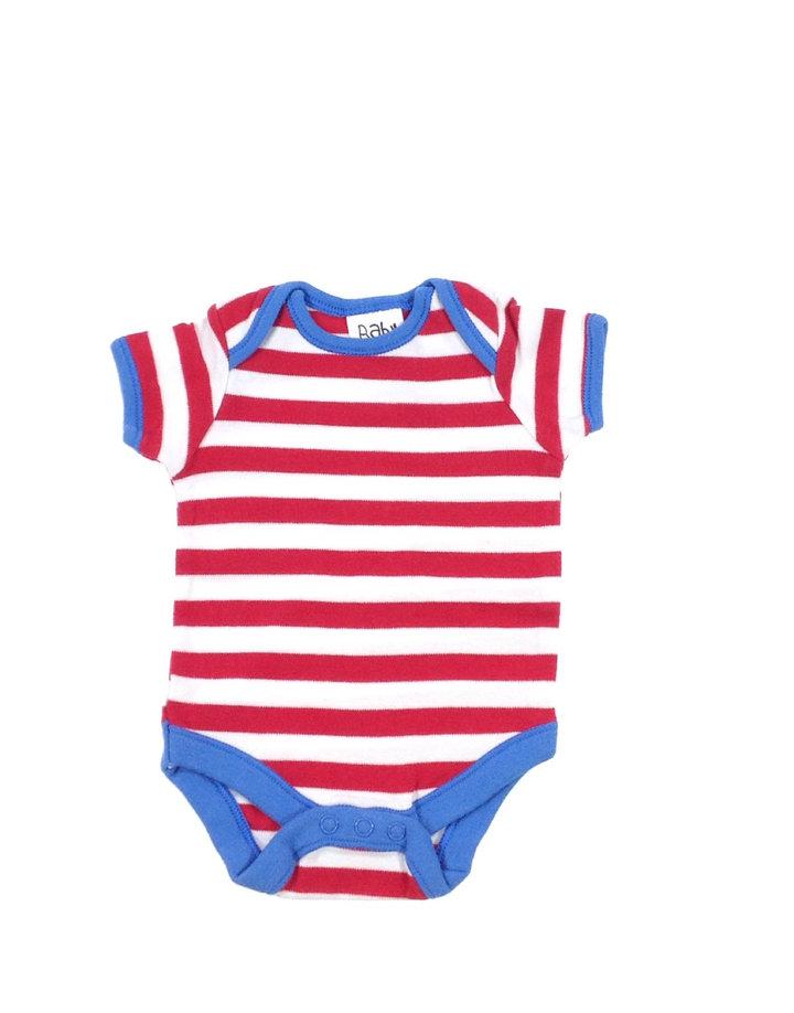 Baby piros-fehér csíkos kisfiú body  ed66576120