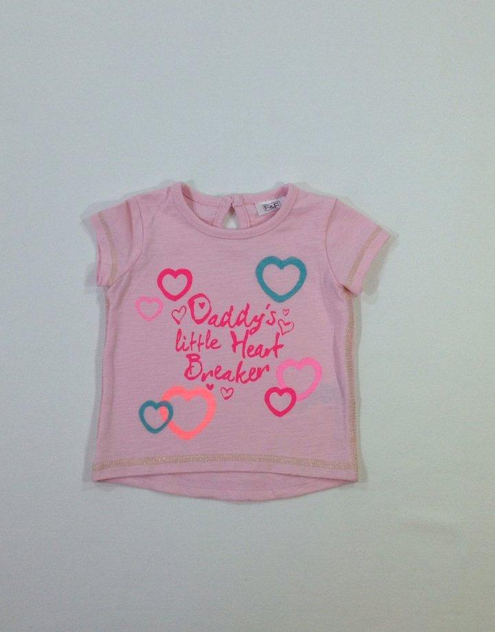 F&F nyomott szívecske és felirat mintás baba póló
