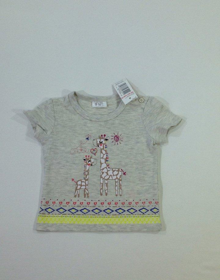 F&F nyomott zsiráf mintás baba póló