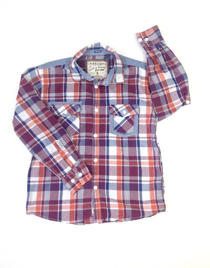 Könnyű anyagú kockás fiú ing