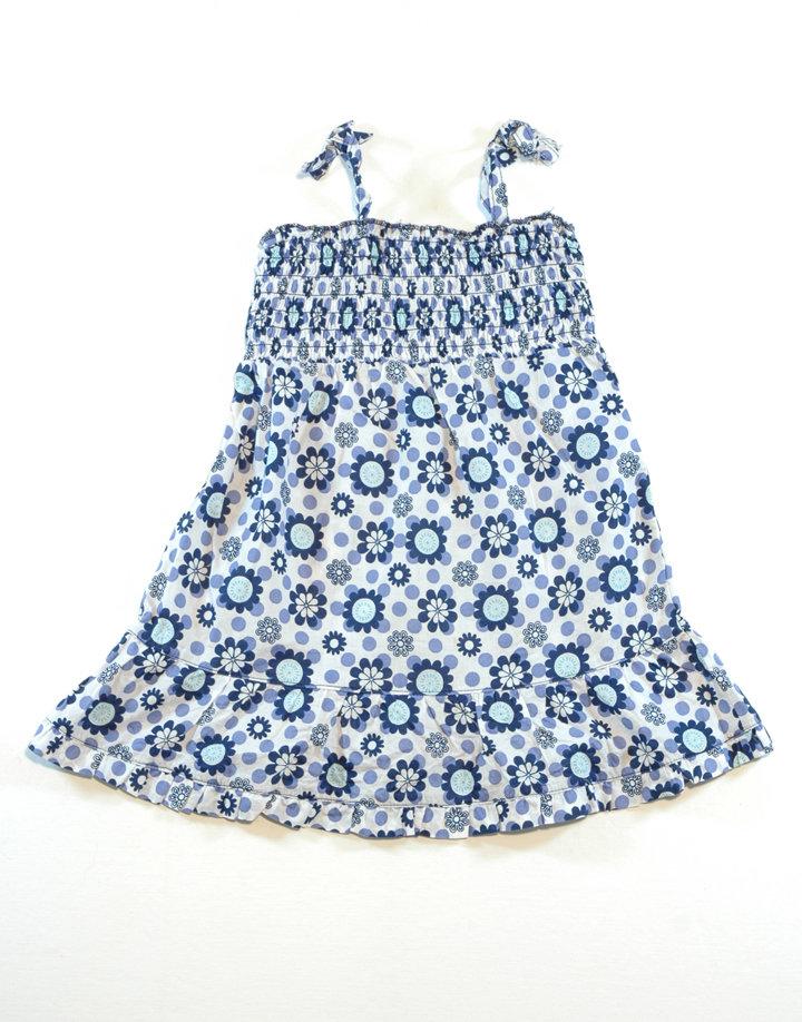 Kék virágos pántos ruha