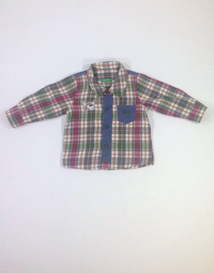 Benetton könnyű anyagú kockás baba ing