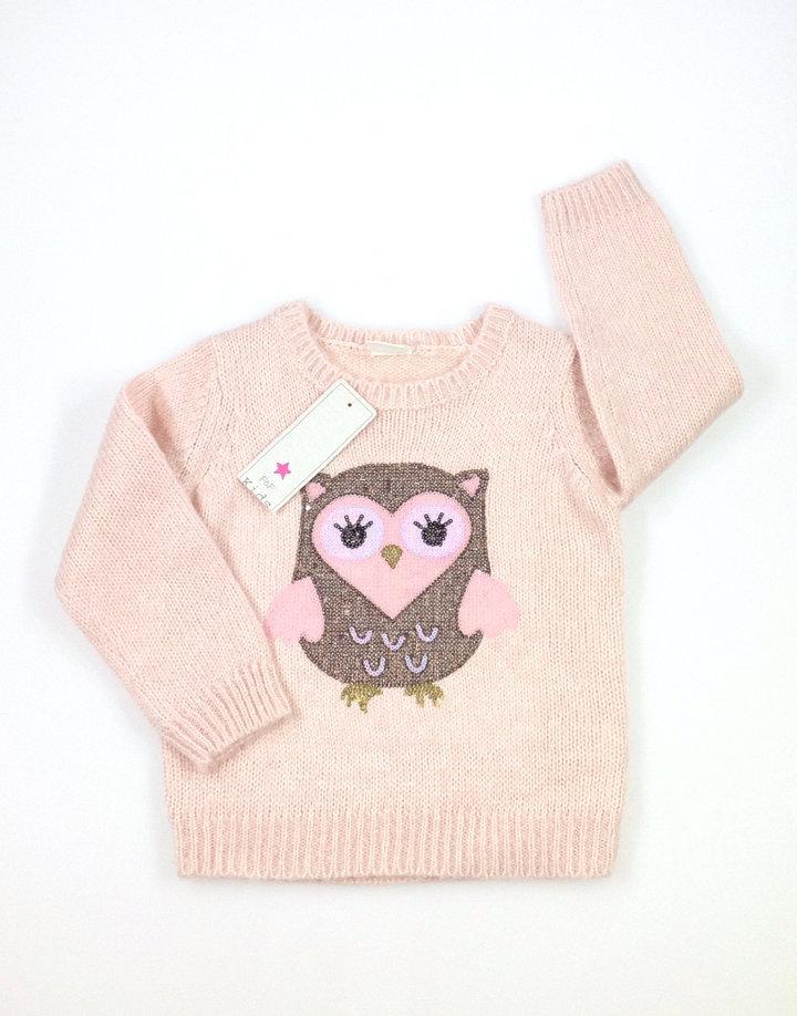 F&F bagoly mintás kislány pulóver