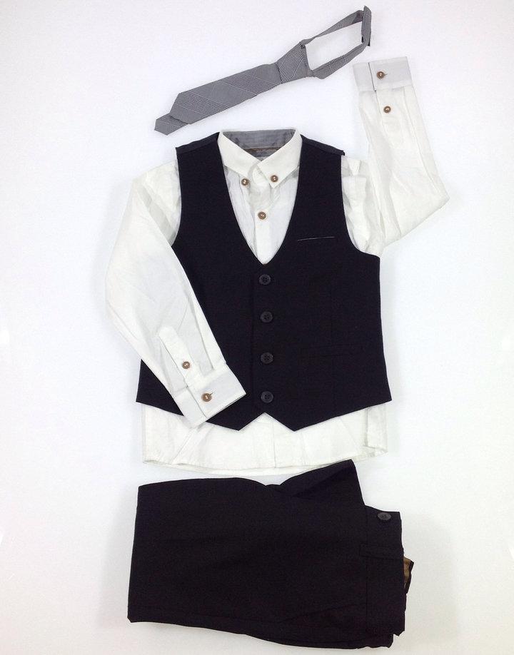 NEXT, Mellény és ing szett nyakkendővel, FeketeFehér, 6Y