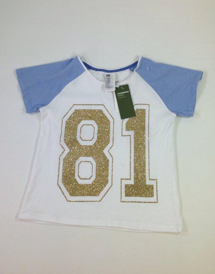 H&M csillogós szám mintás kislány póló