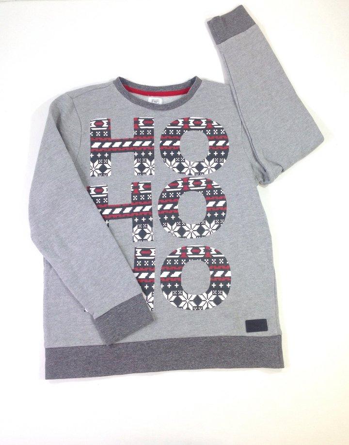 F&F nyomott feliratos fiú pulóver