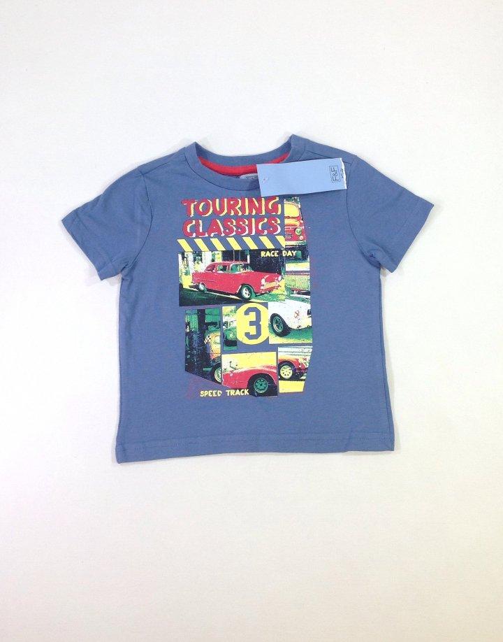 F&F kocsi mintás baba póló
