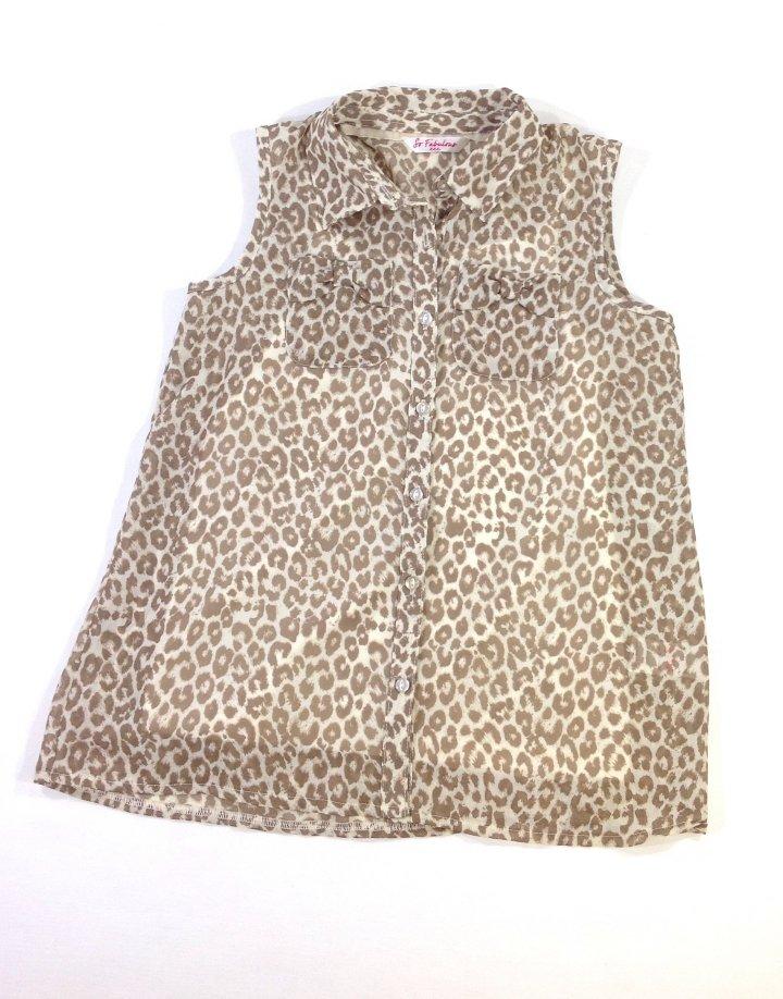 Matalan leopárd mintás kislány muszlin ing