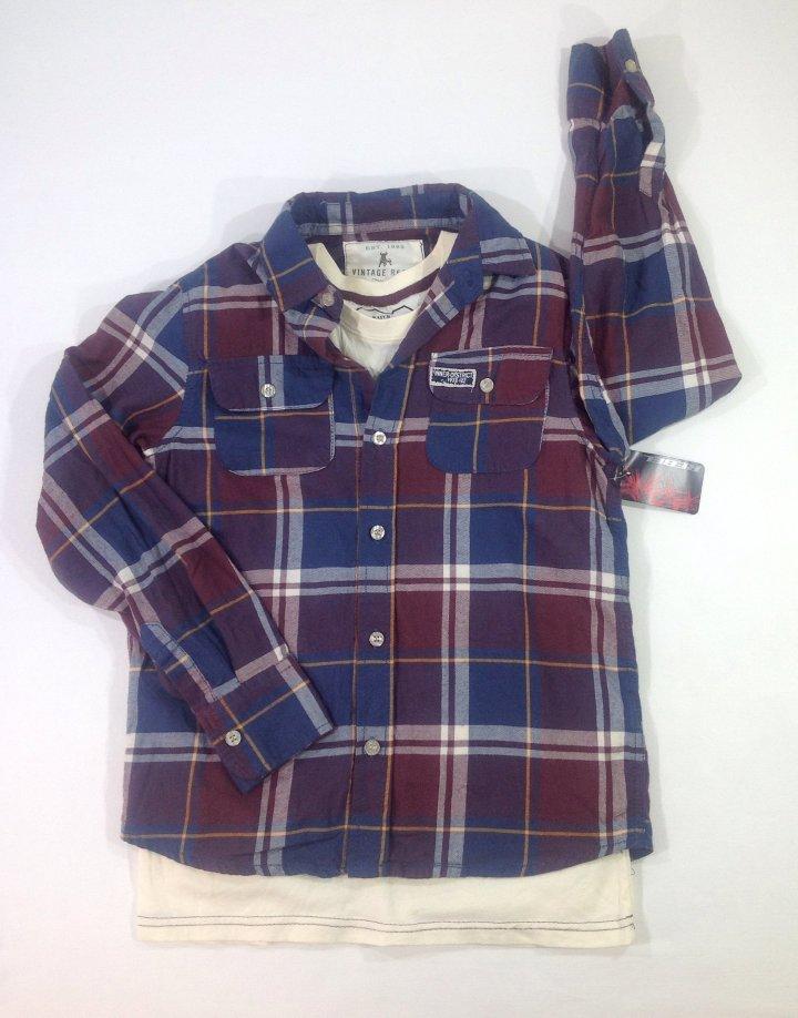 Rebel kockás fiú ing pólóval