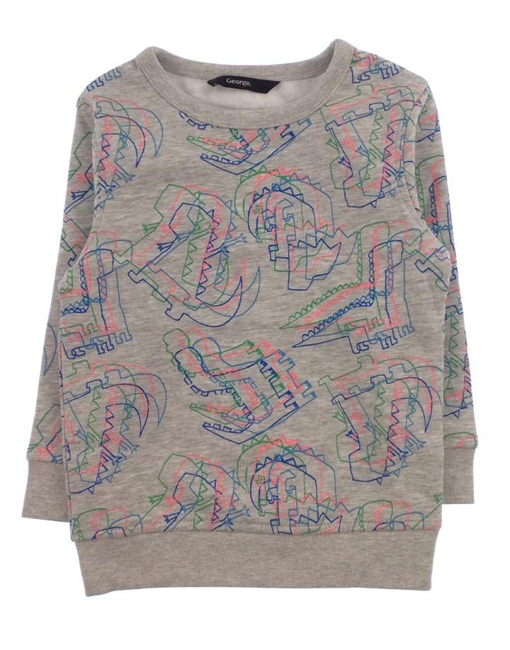 George kislány dínómintás szürke pulóver