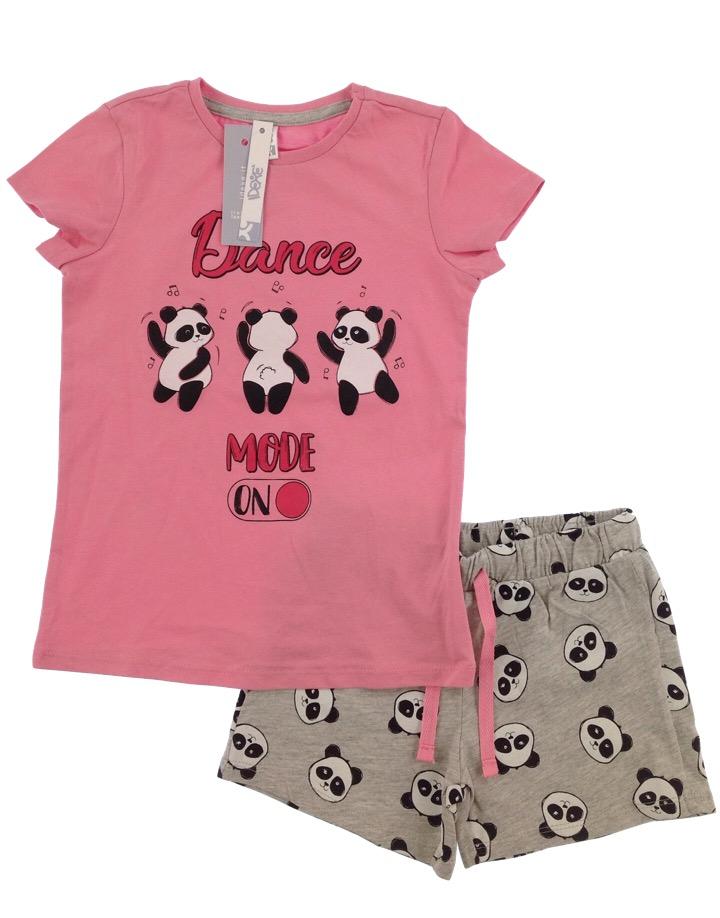 Idexe kislány pandamintás rózsaszín-szürke ruhaszett