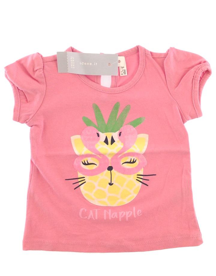 IDEXE kislány cicamintás rózsaszín póló