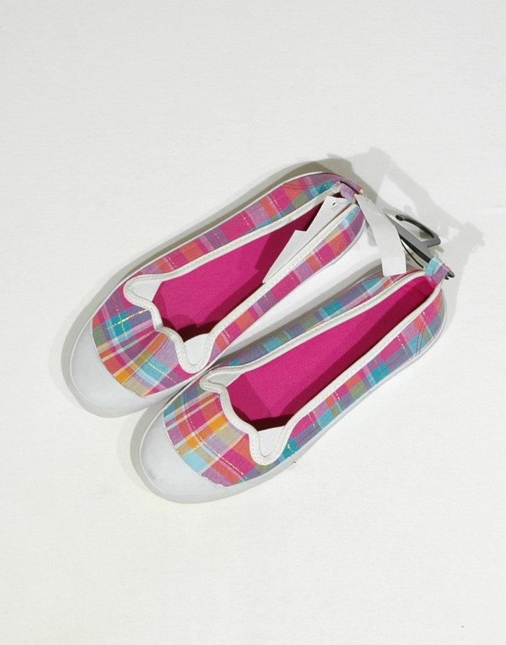 H&M színes kockás tornacipő szerű nyitott lány cipő