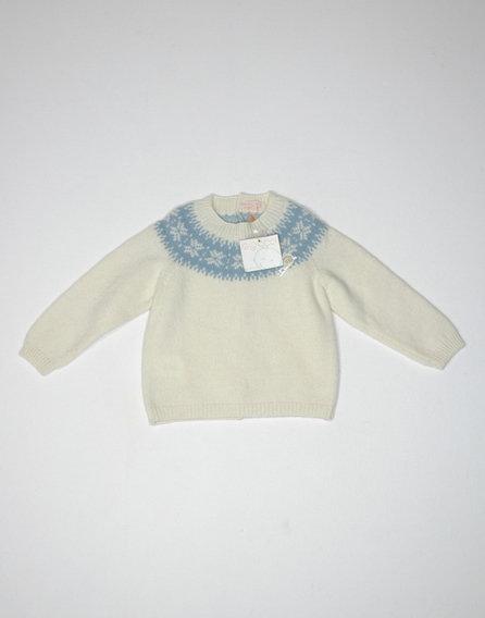 Hátul gombos kötött pulóver