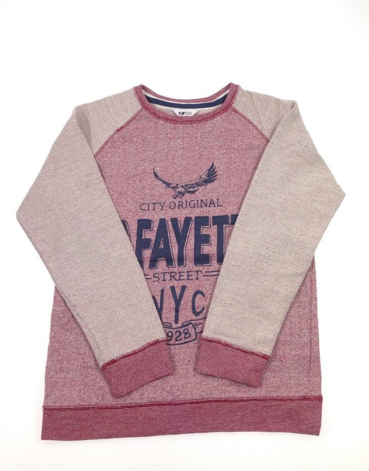 Flipback feliratos fiú pulóver