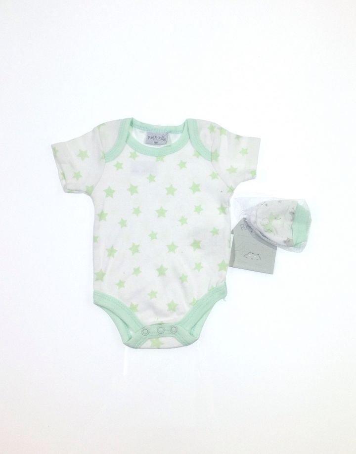 Baby csillag mintás body karmolásvédővel